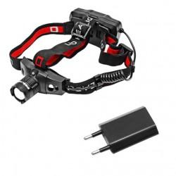 Akumulatorowa latarka czołowa CREE XPE LED 150lm, USB